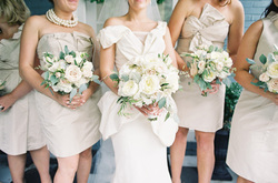 HEPATICA wedding florals (bouquet w/ cream garden roses, pale pink spray roses & lamb's ear)– photo: Joey Kennedy Photography