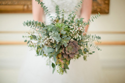 HEPATICA wedding florals (bouquet in blue-greens w/ succulents, eucalyptus & brunia)  – photo: Caitlin Thomas Photography