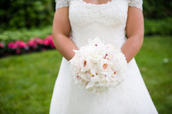 HEPATICA wedding florals (bouquet in white w/ peony, garden roses & cymbidium orchid) – photo: MichaelWill Photographers