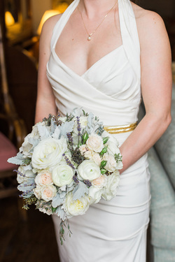 HEPATICA wedding florals (bouquet in cream, peach and gray w/ roses, ranunculus, lavender, dusty miller) – photo: Breanna Elizabeth Photography